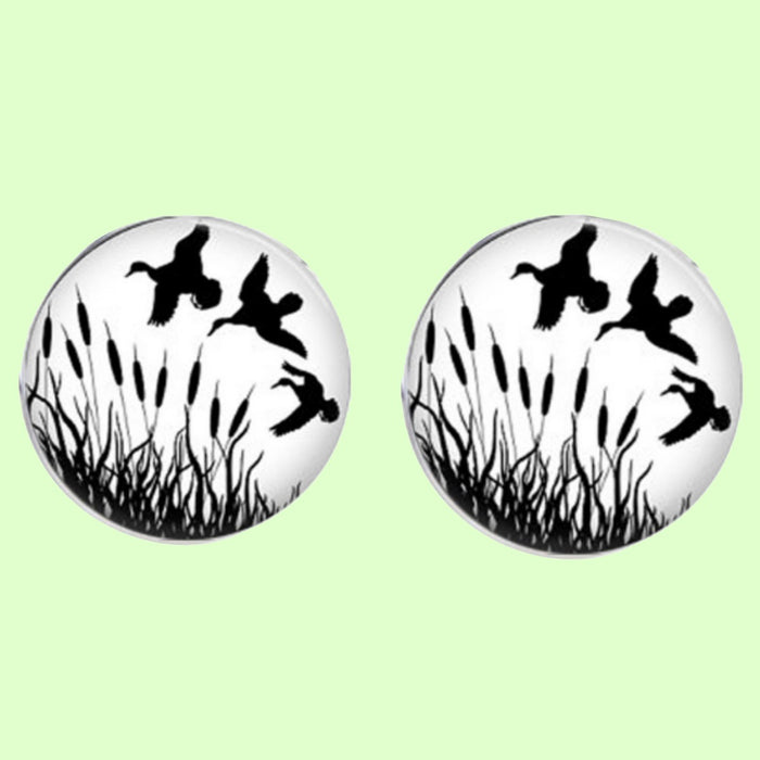 Bassin and Brown Flying Ducks Cufflinks - White/Black