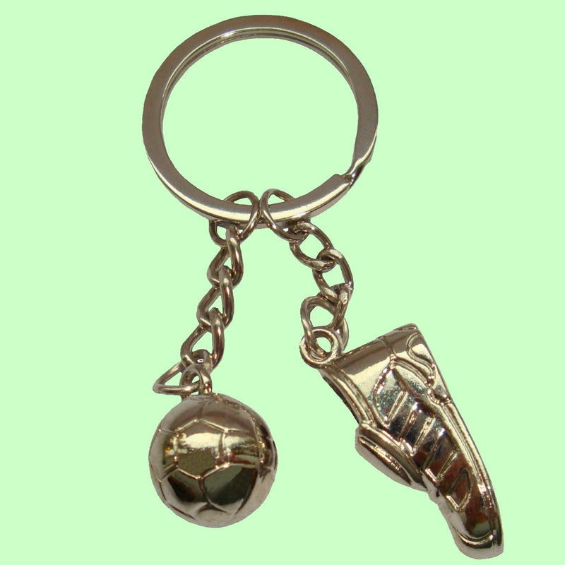 Bassin and Brown Silver Football Boot and Ball Keyring