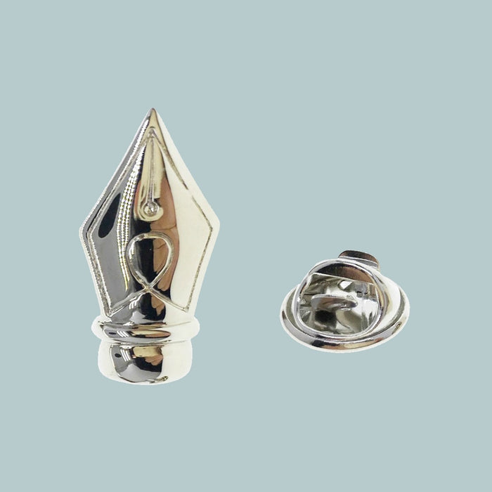 Bassin and Brown Fountain Pen Jacket Lapel Pin - Silver