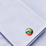 Bassin and Brown Geometric Swirl Cufflinks - Multi Colour