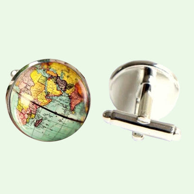 Bassin and Brown Earth Globe Cufflinks - Blue/Yellow/Pink