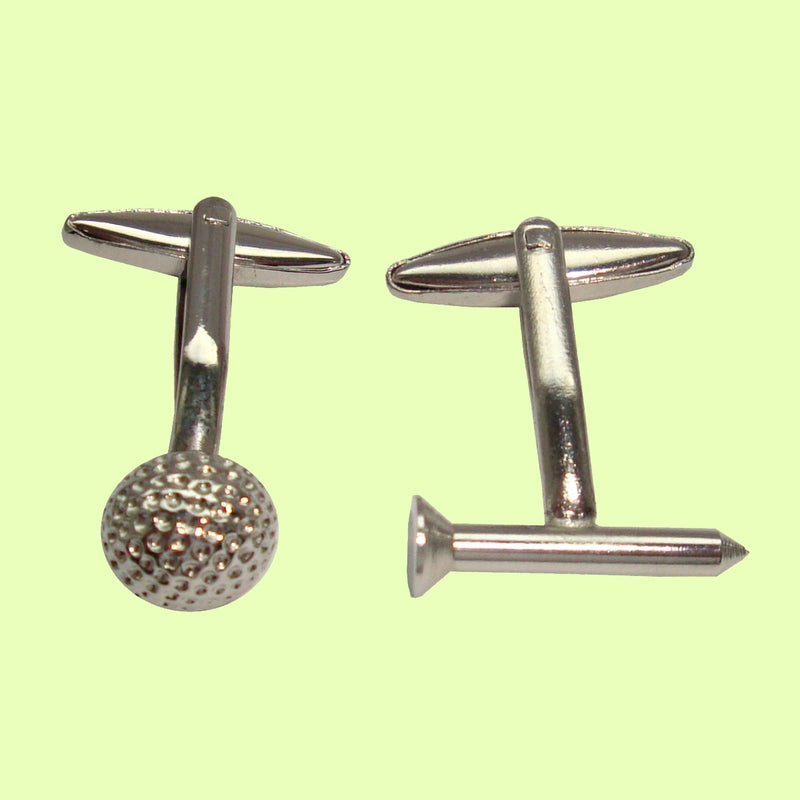 Bassin and Brown Silver Golf Ball and Tee Cufflinks