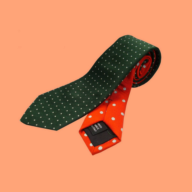 Bassin and Brown Spot Woven Silk Tie Green/Orange