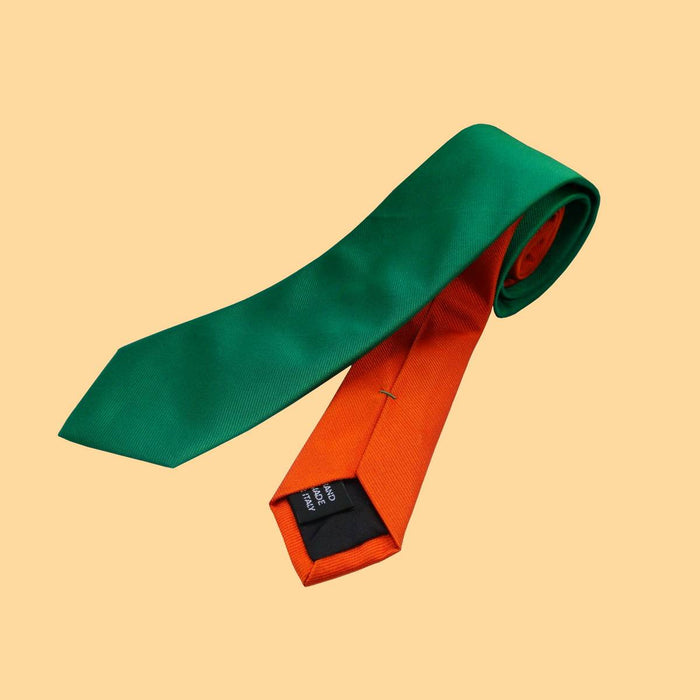 Bassin and Brown Plain Woven Silk Tie Green/Orange