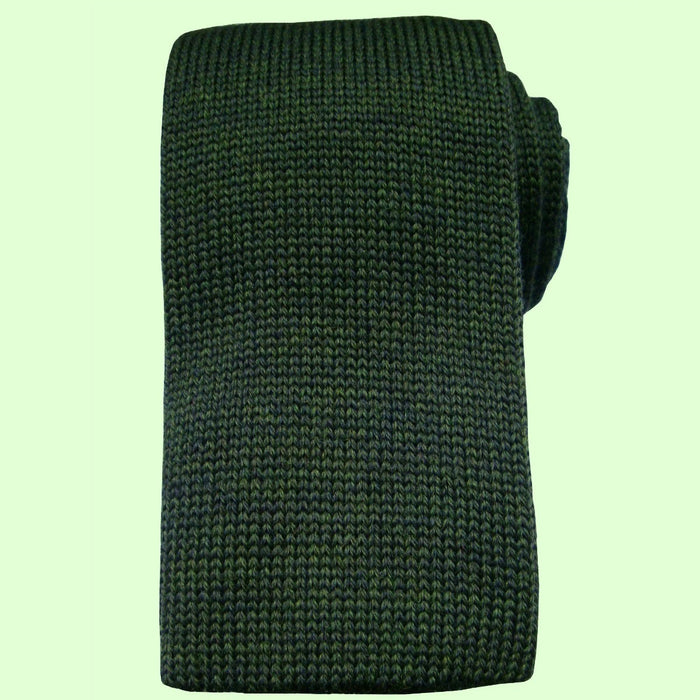 Bassin and Brown Plain Knitted Wool Tie Green