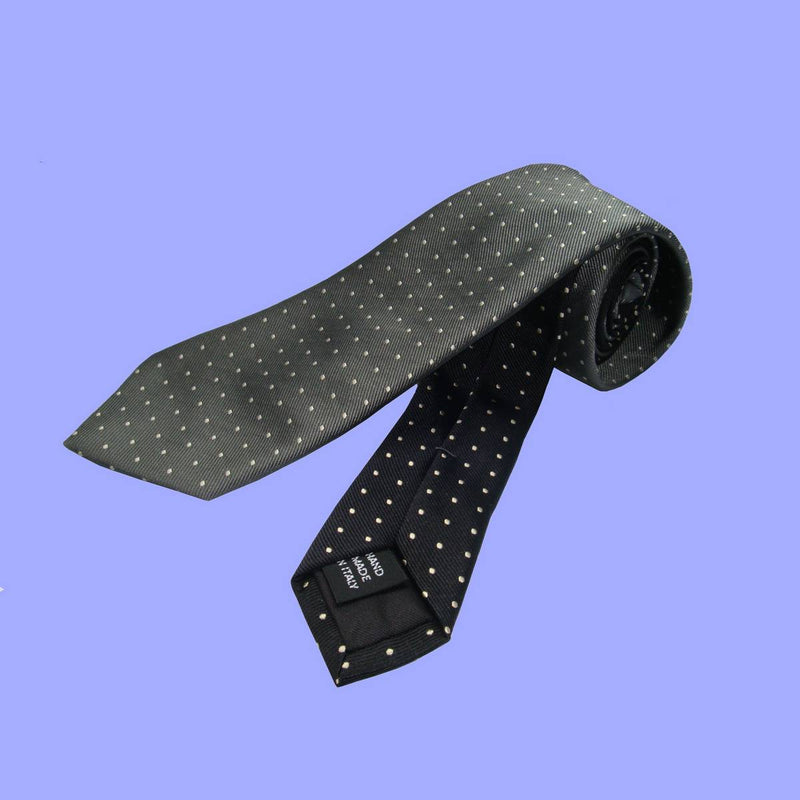 Bassin and Brown - Spot Woven Silk Tie  - Grey and Black