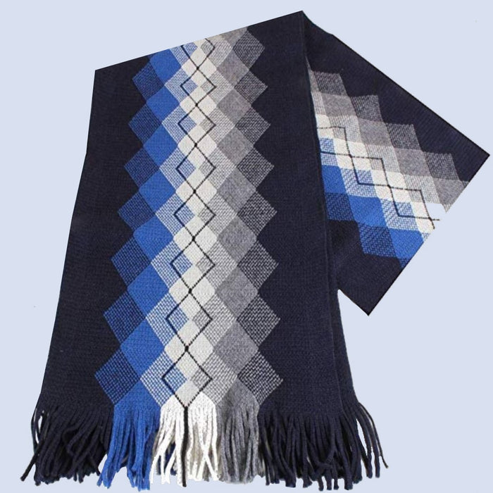 Bassin and Brown - Mens - Argyle Patterned - Wool - Scarf - Design Grout - Blue,Navy and Grey