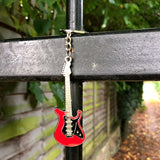 Bassin and Brown Guitar Keyring - White/Red/Silver