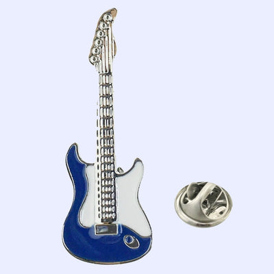 Bassin and Brown Guitar Jacket Lapel Pin - Blue and White