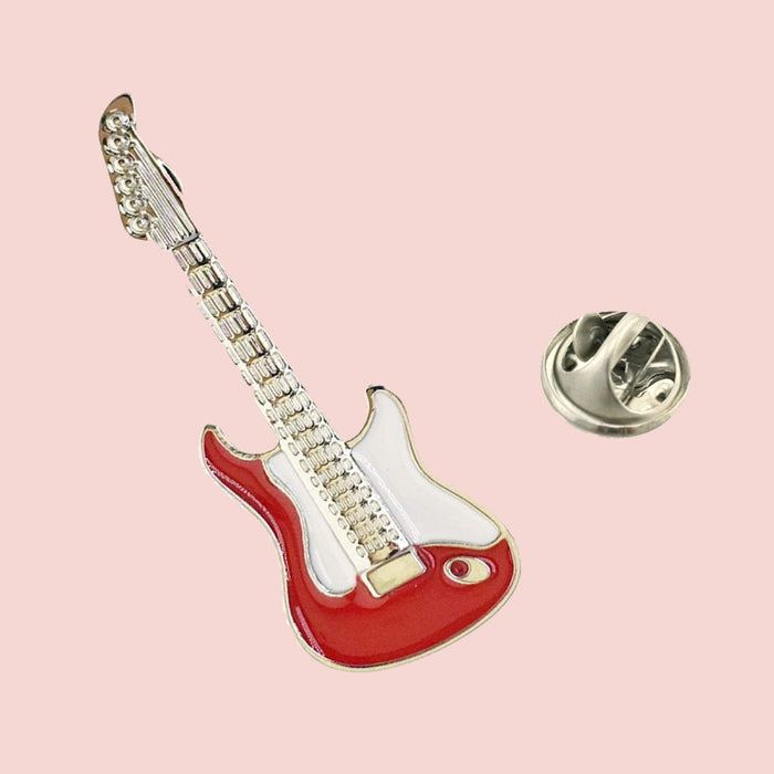Bassin and Brown Guitar Jacket Lapel Pin - Red and White