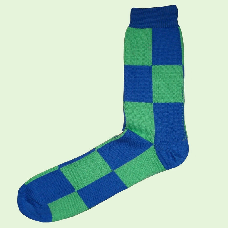 Bassin and Brown Harlequin Check Cotton Socks - Green/Blue