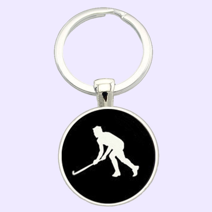 Bassin and Brown Hockey Player Keyring - Black/White