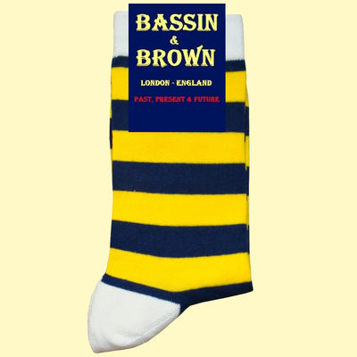 Bassin and Brown Hooped Striped Socks - Yellow/Navy/White