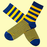 Bassin and Brown Graded Multi Stripe Socks- Yellow and Navy