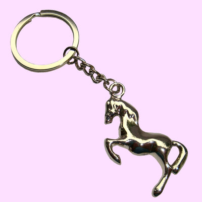 Bassin and Brown Horse Keyring - Silver
