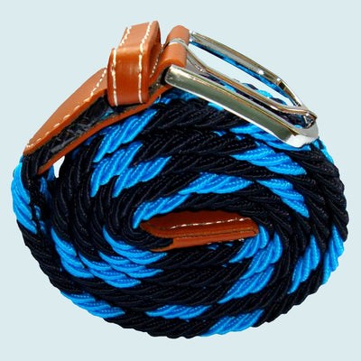 Bassin and Brown Jagged Stripe Elasticated Woven Belt - Blue and Black