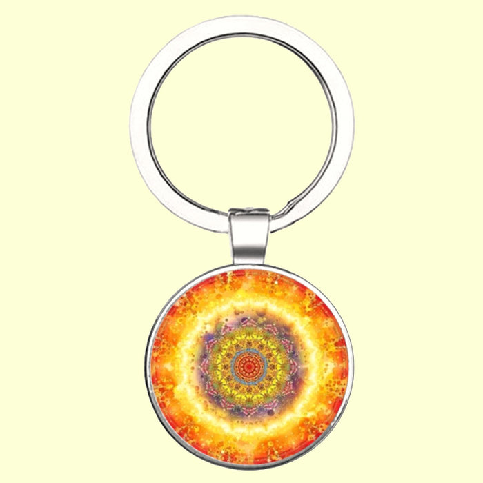 Bassin and Brown Kaleidoscope Flower Keyring - Yellow and Orange