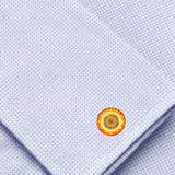 Bassin and Brown Kaleidoscope Flower Cufflinks - Yellow and Orange
