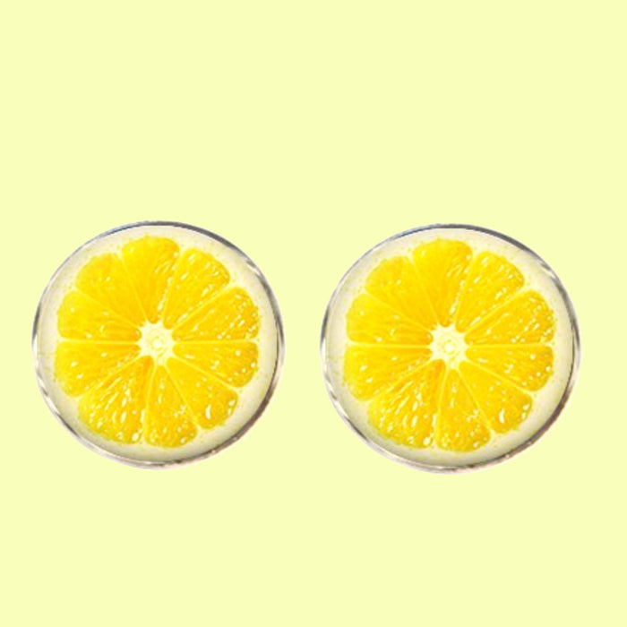 Bassin and Brown Lemon Fruit Cufflinks - Yellow
