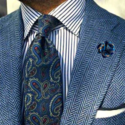 Bassin and Brown Madras Check Flower - Jacket Lapel Pin - Blue.Navy.Orange