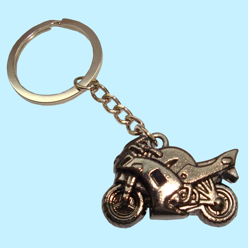 Bassin and Brown Motorbike Keyring - Black Metal