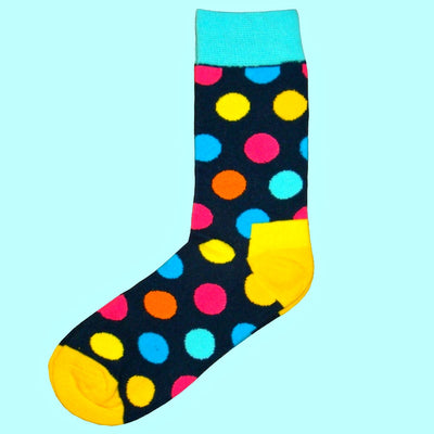 Bassin and Brown Multi Coloured Spotted Socks - Yellow.Turquoise,Navy,Blue, Pink and Orange