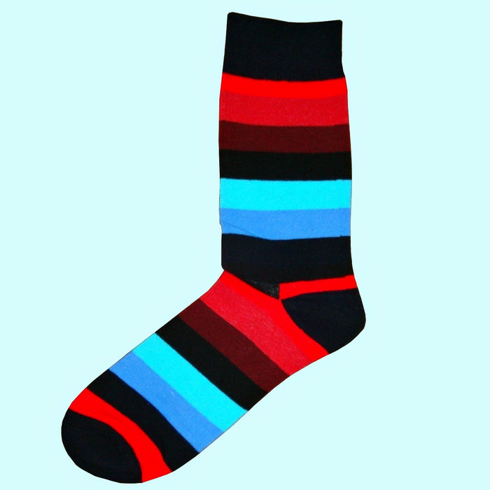 Bassin and Brown Multi Coloured Stripe Socks - Black.Red.Wine.Blue.Turquoise