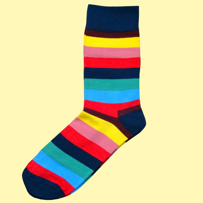 Bassin and Brown Multi Coloured Stripe Socks - Navy.Red.Yellow.Pink.Blue.Green.Brown