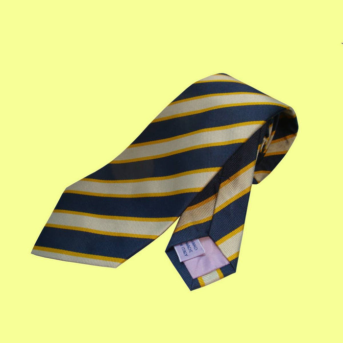 Bassin and Brown Classic Woven Stripe Silk Tie Blue/White/Gold