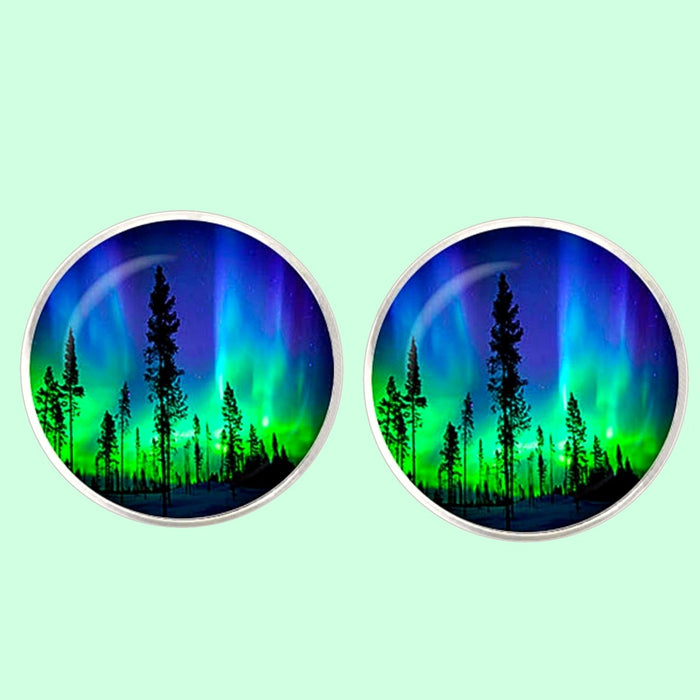 Bassin and Brown Northern Lights and Pine Trees Cufflinks - Blue and Green