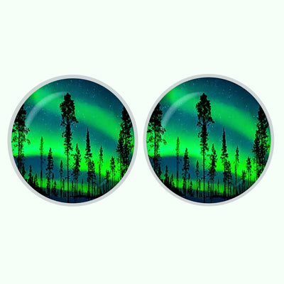 Bassin and Brown Northern Lights and Pine Trees Cufflinks - Green and Blue