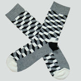 Bassin and Brown Opitical  Check Socks - Black.Grey.White