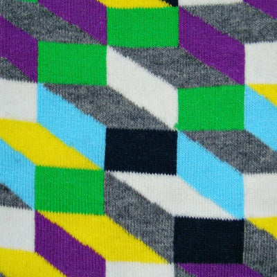 Bassin and Brown Opitical Check Socks - Purple.Black.Grey.Green.Yellow.Light Blue