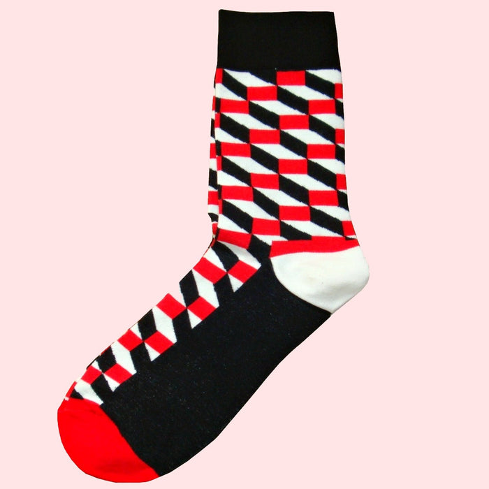 Bassin and Brown Opitical Check Socks - Black, Red and White