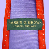 Bassin and Brown Spotted and Plain Woven Silk Tie - Orange and Lilac