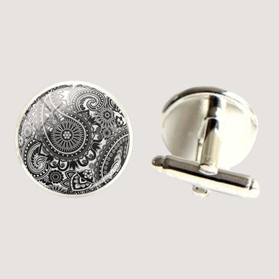 Bassin and Brown Paisley Cufflinks - Black and White