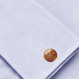 Bassin and Brown Paisley Cufflinks - Wine and Yellow