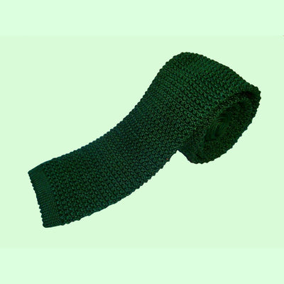 Bassin and Brown Plain Knitted Silk Tie Green