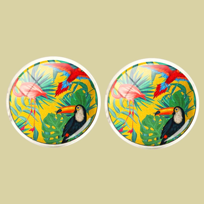 Bassin and Brown Pelican, Toucan and Tropical Bird Cufflinks - Yellow.Green.Blue and Red