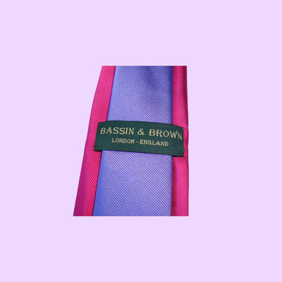 Bassin and Brown Two Colour Plain Woven Silk Tie Pink/Lilac