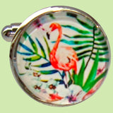 Bassin and Brown Flamingo Cufflinks - Pink.Green.White