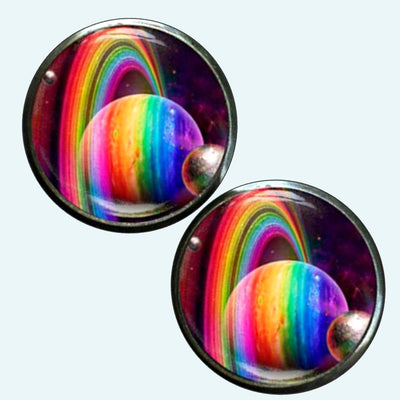 Bassin and Brown Planets and Rings Cufflinks - Multi Colour
