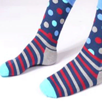 Bassin and Brown Polka Dot Striped Socks with Contrasting Heel and Toes - Grey,Blue,Wine,Navy