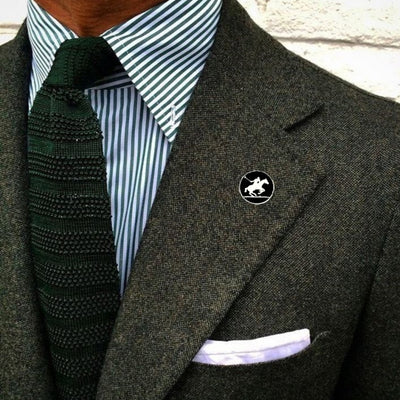 Bassin and Brown Polo Player Jacket Lapel Pin - Black/White