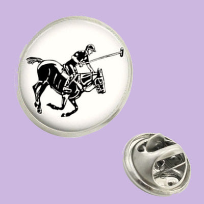 Bassin and Brown Polo Player Jacket Lapel Pin - White/Black