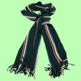Bassin and Brown - Puskas  - Wool Striped Scarf - Green, White, Blue and Orange