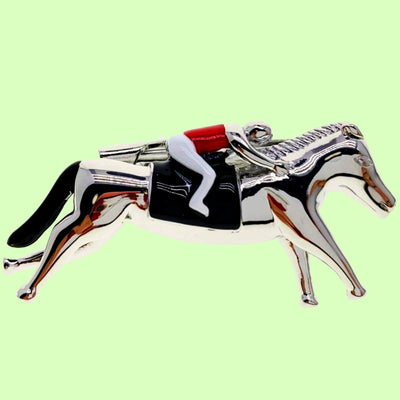 Bassin and Brown Racing Horse and Jockey Tie Bar -Silver, Black and Red