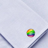 Bassin and Brown Rainbow Stripe Cufflinks - Multi Colour