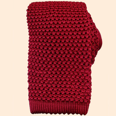 Bassin and Brown Plain Knitted Silk Tie Red