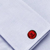 Bassin and Brown Rose Flower Cufflinks - Red